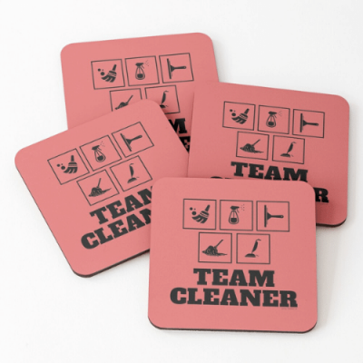 Team Cleaner Savvy Cleaner Funny Cleaning Gifts Coasters