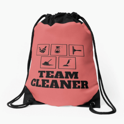Team Cleaner Savvy Cleaner Funny Cleaning Gifts Drawstring Bag