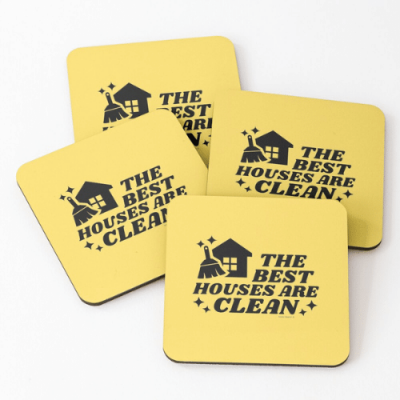 The Best Houses Savvy Cleaner Funny Cleaning Gifts Coasters