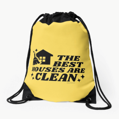 The Best Houses Savvy Cleaner Funny Cleaning Gifts Drawstring Bag