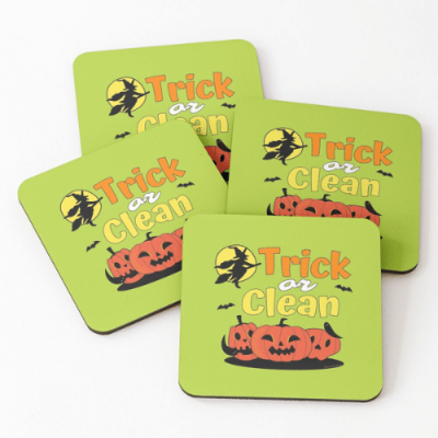 Trick or Clean Savvy Cleaner Funny Cleaning Gifts Coasters