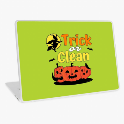 Trick or Clean Savvy Cleaner Funny Cleaning Gifts Laptop Skin