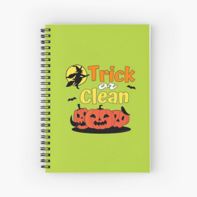 Trick or Clean Savvy Cleaner Funny Cleaning Gifts Spiral Notebook