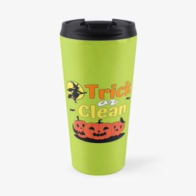 Trick or Clean Savvy Cleaner Funny Cleaning Gifts Travel Mug