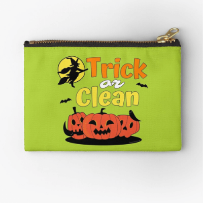 Trick or Clean Savvy Cleaner Funny Cleaning Gifts Zipper Pouch