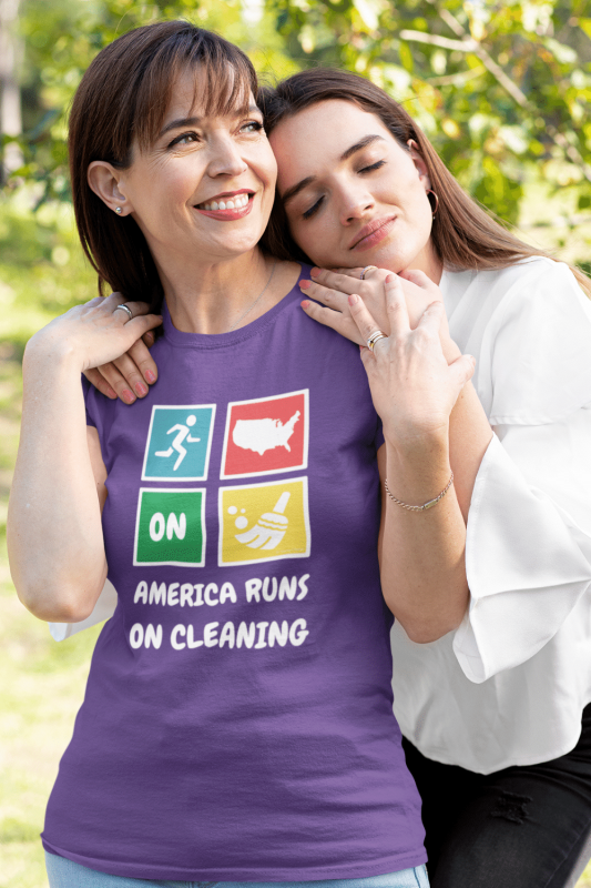 America Runs On Cleaning Savvy Cleaner Funny Cleaning Shirts Women's Standard Tee