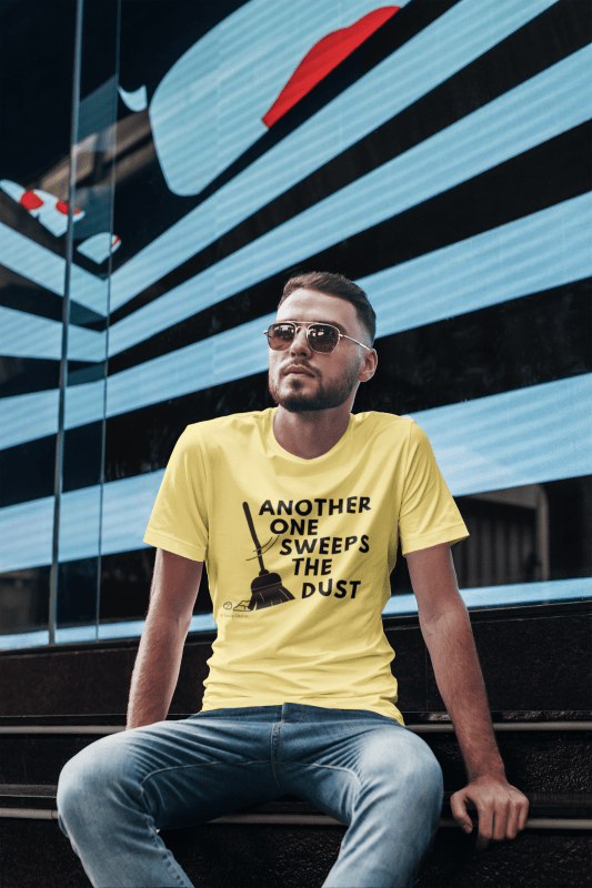 Another One Sweeps the Dust, Savvy Cleaner T-Shirt, Man on bench