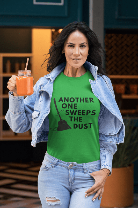 Another One Sweeps the Dust, Savvy Cleaner T-Shirt, woman holding juice