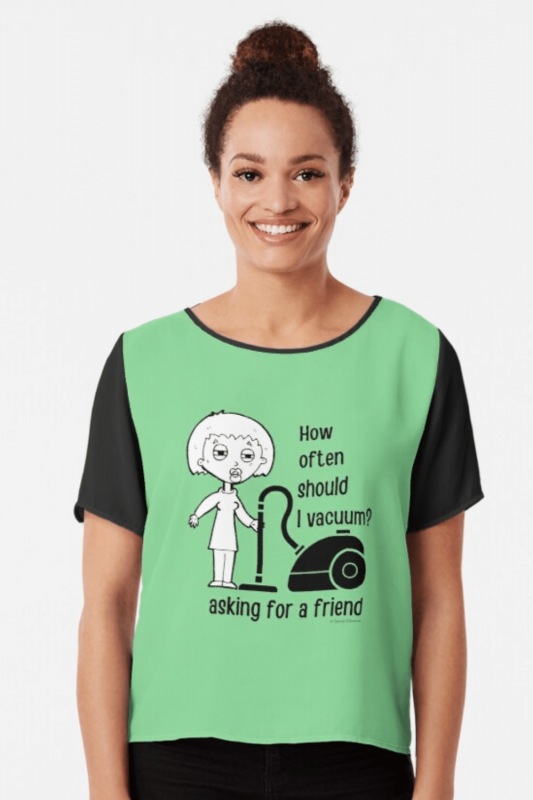Asking for a Friend Savvy Cleaner Funny Cleaning Shirts Chiffon Top