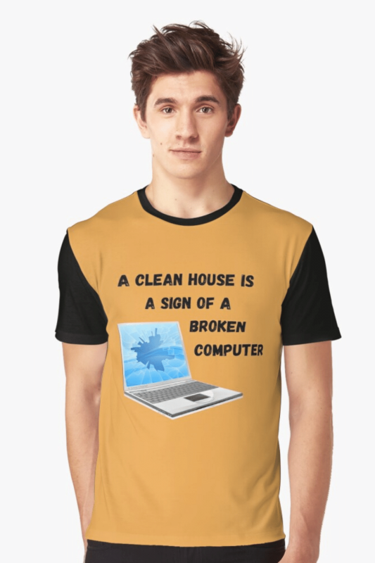 Broken Computer Savvy Cleaner Funny Cleaning Shirts Graphic T-Shirt