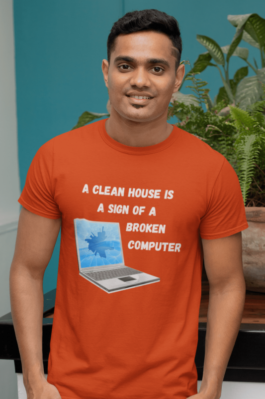 Broken Computer Savvy Cleaner Funny Cleaning Shirts Men's Standard Tee