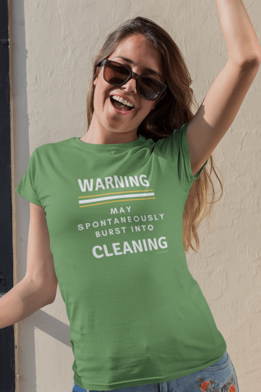 Burst Into Cleaning Savvy Cleaner Funny Cleaning Shirts Women's Standard T-Shirt