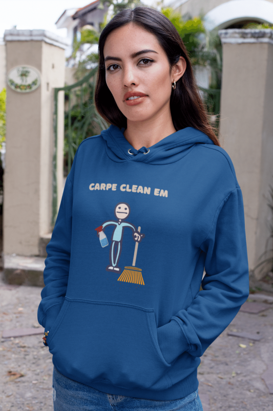 Carpe Clean Em Savvy Cleaner Funny Cleaning Shirts Classic Pullover Hoodie