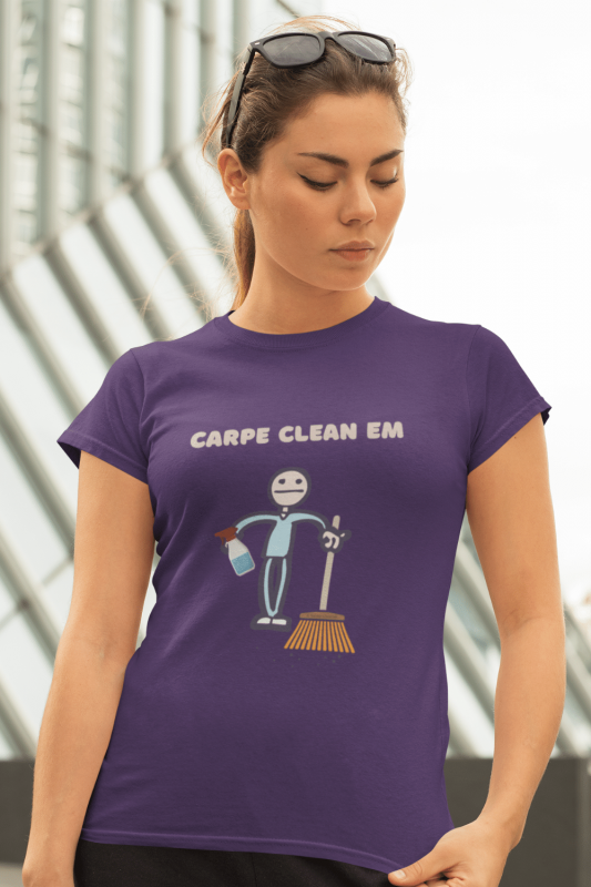 Carpe Clean Em Savvy Cleaner Funny Cleaning Shirts Women's Standard T-Shirt