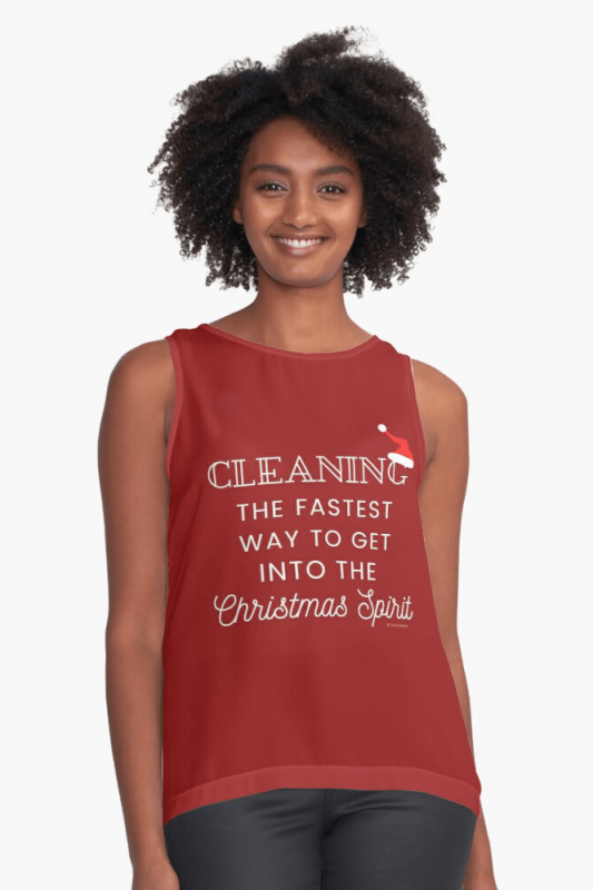 Christmas Spirit, Savvy Cleaner Funny Cleaning Shirts, Sleeveless Shirt