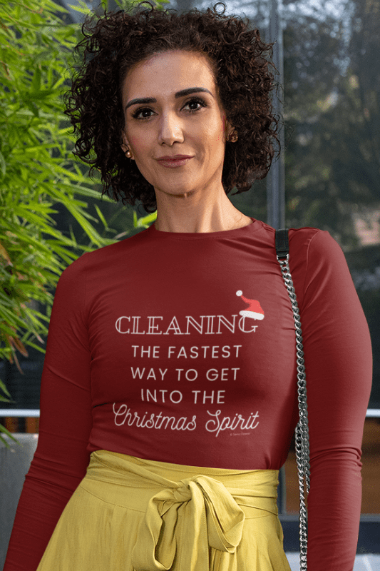 Christmas Spirit, Savvy Cleaner Funny Cleaning Shirts, Women's Flowy Long Sleeve T-Shirt