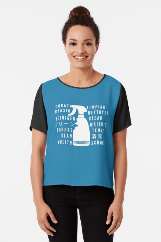 Clean In Every Language Savvy Cleaner Funny Cleaning Shirts Chiffon Top