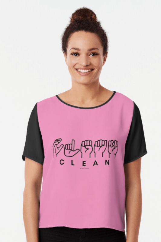 Clean Sign Language Savvy Cleaner Funny Cleaning Shirts Chiffon Top