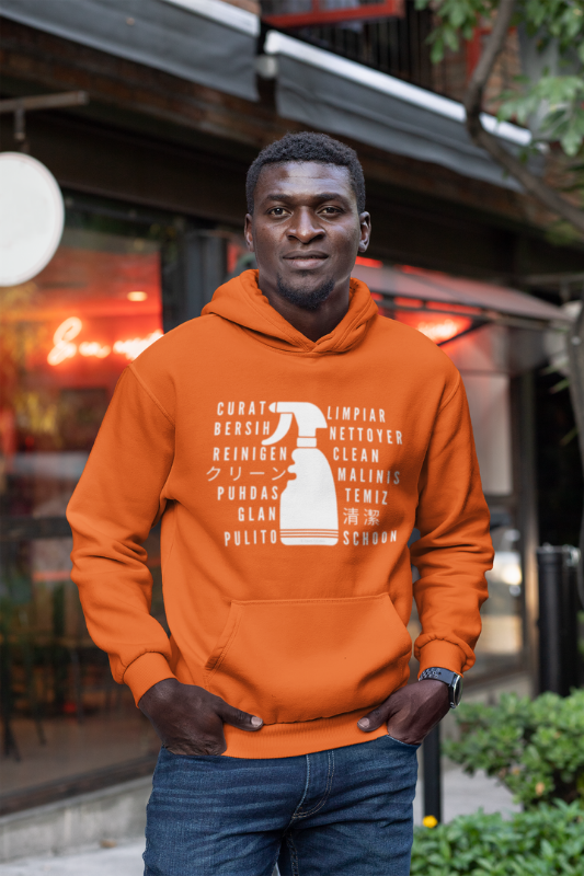 Clean in Every Language Savvy Cleaner Funny Cleaning Shirts Classic Pullover Hoodie