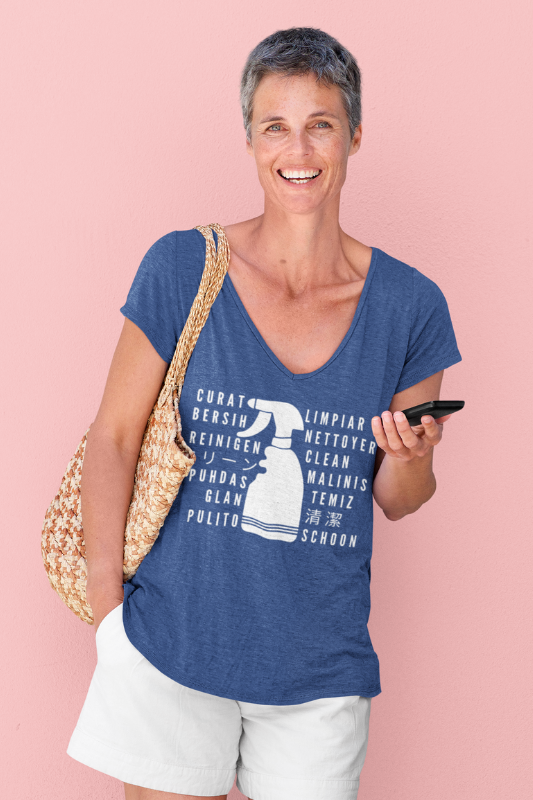 Clean in Every Language Savvy Cleaner Funny Cleaning Shirts V-neck Tee