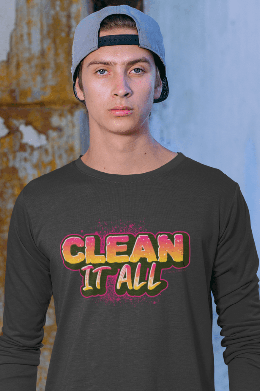 Clean it All, Savvy Cleaner Funny Cleaning Shirts, Premium Long Sleeve T-Shirt