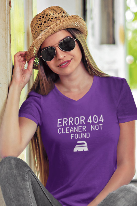Cleaner Not Found Savvy Cleaner Funny Cleaning Shirts Women's Premium V-Neck Tee