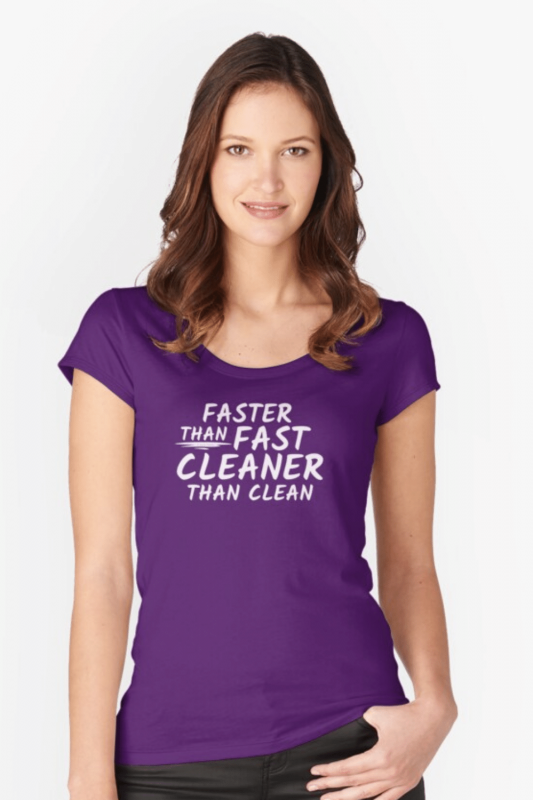 Cleaner Than Clean Savvy Cleaner Funny Cleaning Shirts Fitted Scoop Tee