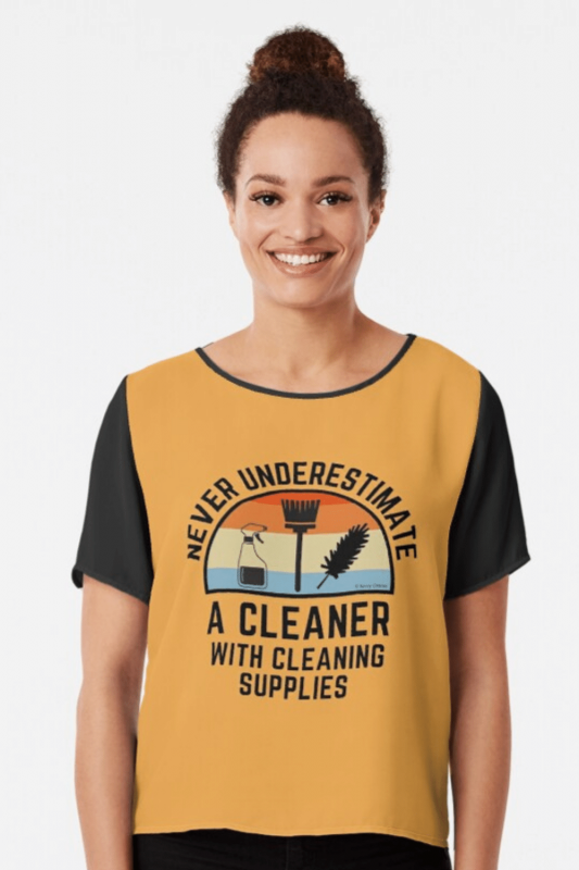 Cleaner With Cleaning Supplies Savvy Cleaner Funny Cleaning Shirts Chiffon Top