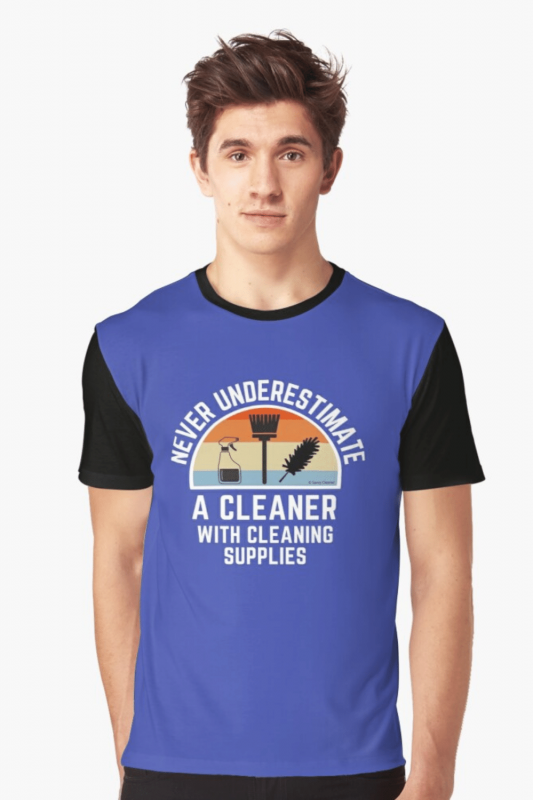 Cleaner With Cleaning Supplies Savvy Cleaner Funny Cleaning Shirts Graphic T-Shirt