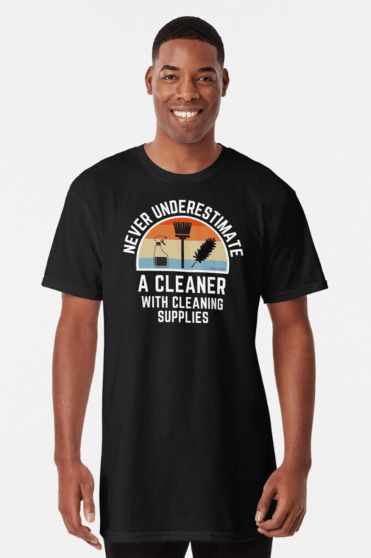 Cleaner With Cleaning Supplies Savvy Cleaner Funny Cleaning Shirts Long T-Shirt