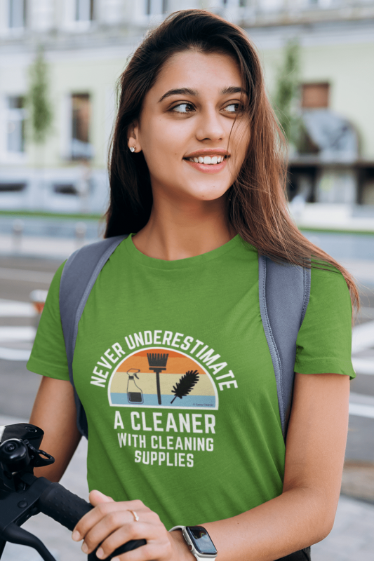 Cleaner With Cleaning Supplies Savvy Cleaner Funny Cleaning Shirts Women's Standard Tee