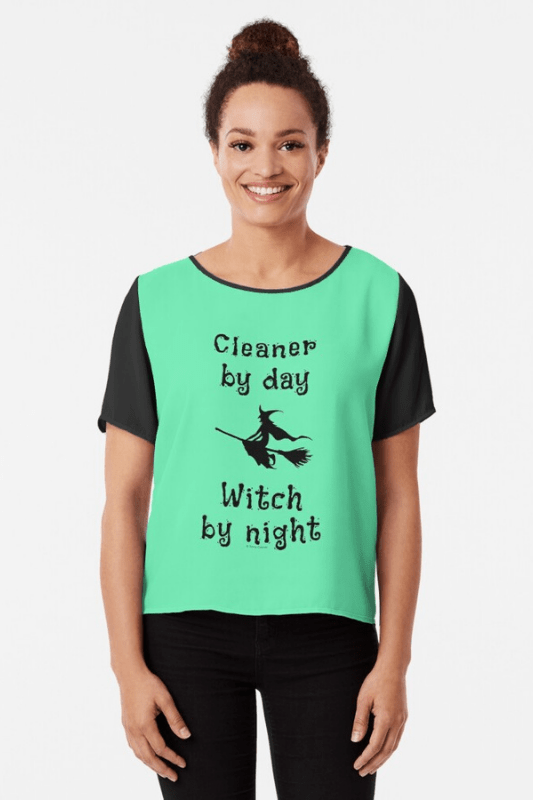 Cleaner by Day Savvy Cleaner Funny Cleaning Shirts Chiffon Top