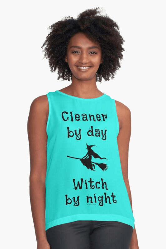 Cleaner by Day Savvy Cleaner Funny Cleaning Shirts Sleeveless Top