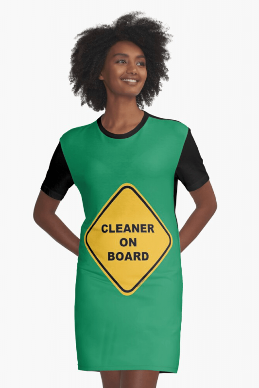 Cleaner on Board, Savvy Cleaner Funny Cleaning Shirts, Graphic Dress