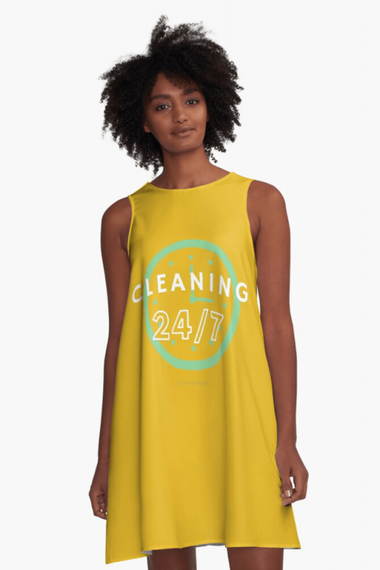 Cleaning 24-7, Savvy Cleaner Funnny Cleaning Shirts, A-line Dress