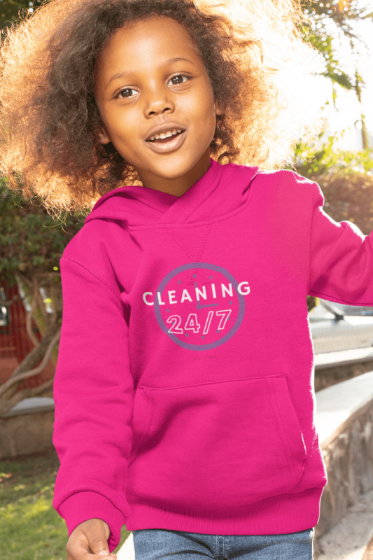 Cleaning 24-7, Savvy Cleaner Funny Cleaning Shirts, Kids Classic Pullover Hoodie
