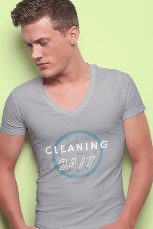 Cleaning 24-7, Savvy Cleaner Funny Cleaning Shirts, Premium V-Neck T-Shirt