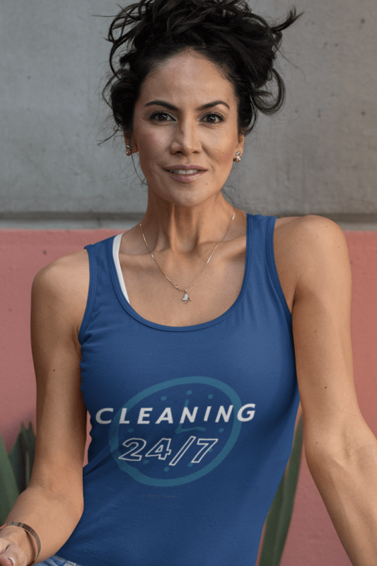 Cleaning 24-7, Savvy Cleaner Funny Cleaning Shirts, Tank Top in Navy