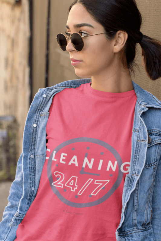 Cleaning 24-7, Savvy Cleaner Funny Cleaning Shirts, Triblend T-Shirt