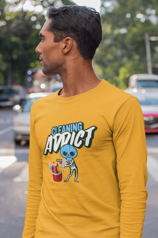 Cleaning Addict Savvy Cleaner Funny Cleaning Shirts, Classic Long Sleeve T-Shirt