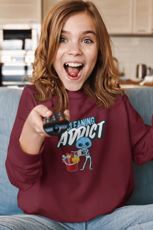 Cleaning Addict Savvy Cleaner Funny Cleaning Shirts, Kids Crewneck Sweatshirt