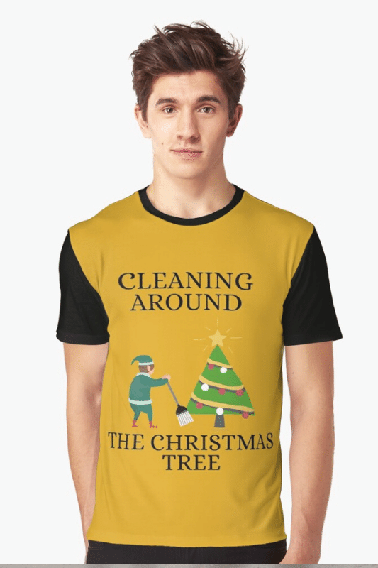 Cleaning Around The Christmas Tree Savvy Cleaner Funny Cleaning Shirts Graphic Tee