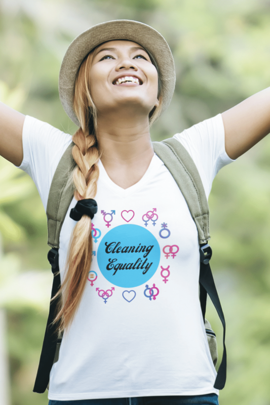 Cleaning Equality Savvy Cleaner Funny Cleaning Shirts Women's Classic V-Neck Tee