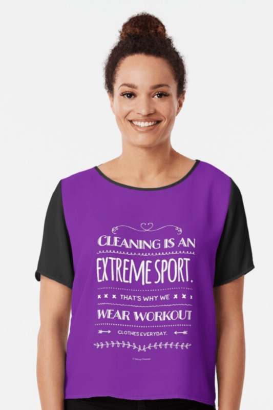 Cleaning Is An Extreme Sport Savvy Cleaner Funny Cleaning Shirts Chiffon Top