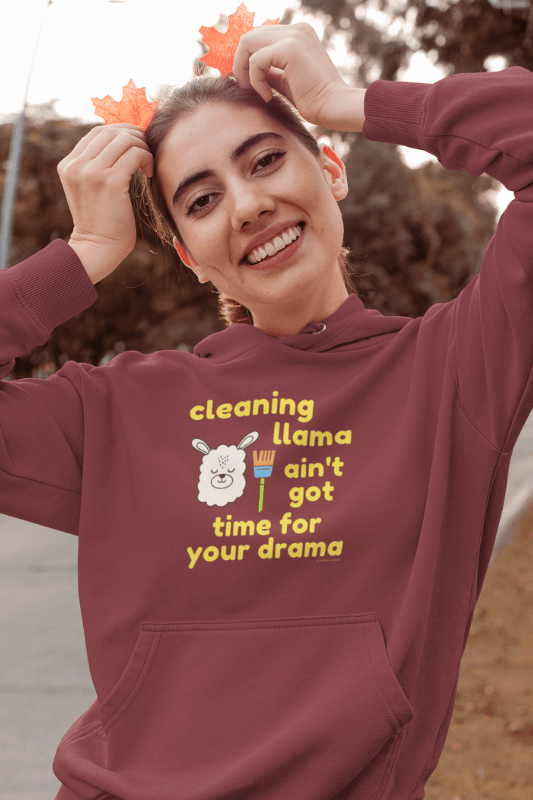 Cleaning Llama, Savvy Cleaner Funny Cleaning Shirts, Classic Pullover Hoodie
