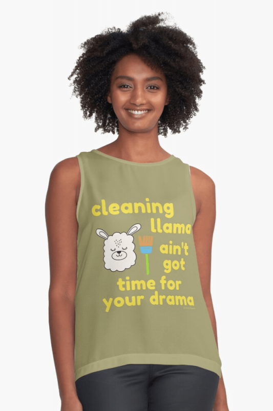 Cleaning Llama, Savvy Cleaner Funny Cleaning Shirts, Sleeveless Shirt