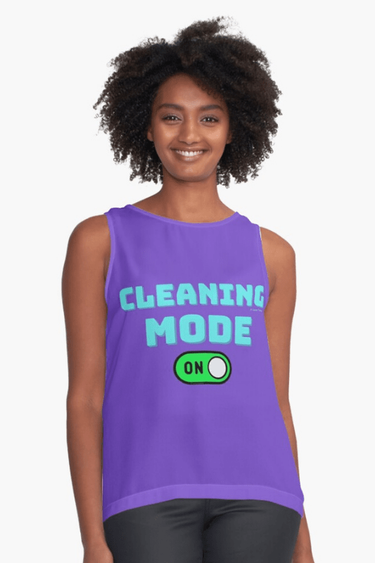 Cleaning Mode Savvy Cleaner Funny Cleaning Shirts Sleeveless Top