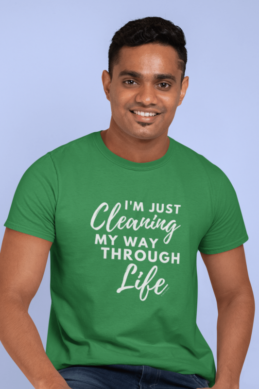 Cleaning My Way Through Life Savvy Cleaner Funny Cleaning Shirts Men's Standard Tee