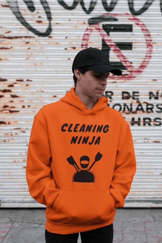 Cleaning Ninja, Savvy Cleaner Funny Cleaning Hoodie in Orange