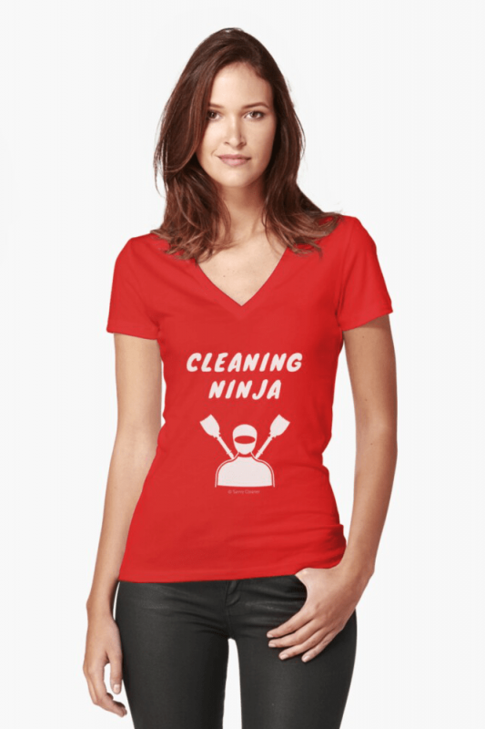 Cleaning Ninja, Savvy Cleaner Funny Cleaning Shirts, V-neck shirt